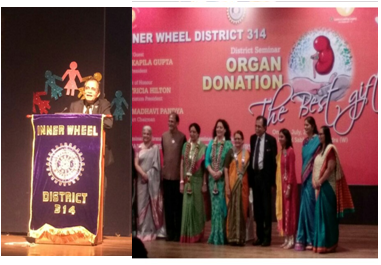 Dr.Keswani giving lecture on Skin Donation at Inner Wheel District-314, Bandra